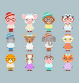 geek hipster cute animal boy girl cubs mascot vector image vector image