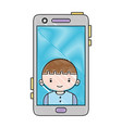 grated smartphone technology with boy person vector image vector image