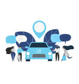 group of people rent a car in carsharing service vector image vector image
