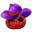 halloween pumpkin with cowboy hat vector image