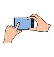 hands with cellphone vector image vector image