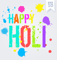 Happy Holi splash colors postcard vector image
