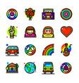 hippie icons set vector image