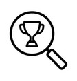 magnifying glass with sport trophy cup linear icon vector image vector image