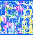 marine print seashell seamless pattern hand drawn vector image