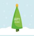 merry christmas celebration pine tree star snow vector image