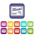 miami beach icons set vector image vector image