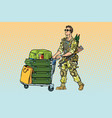 military tourism the mercenary with a luggage vector image