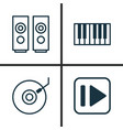 multimedia icons set collection of gramophone vector image vector image