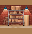 pile cardboard boxes on shelves in warehouse vector image vector image