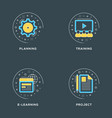 planning training e-learning project set of 4 vector image vector image