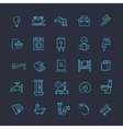 plumbing outline icons set vector image vector image