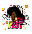pop art black woman scream music festival vector image vector image