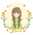princess girl in the floral frame vector image