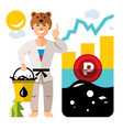 russian economy and oil industry floating vector image vector image