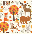 Seamless pattern with autumn forest