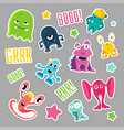 set of cute monsters and bubbles in the form of a vector image
