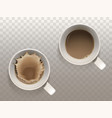 set with two white cups of coffee vector image vector image