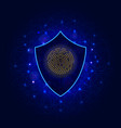 shield with fingerprint scan on abstract vector image vector image