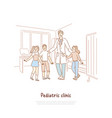 smiling doctor in white coat and happy kids vector image vector image