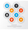 social icons set collection of pin down arrow vector image vector image