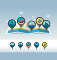 summer pin map icon located on map vacation vector image