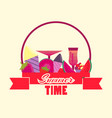 summer time logo with fruits and ribbon ice vector image vector image
