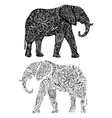 Two elephants silouettes vector image vector image