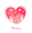 valentines card paper cut heart and houston vector image vector image