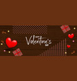 valentines day wood 3d background vector image vector image