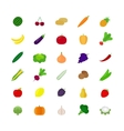 Vegetables and fruit flat icons vector image vector image