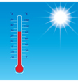 blue sky with bright sun and thermometer vector image