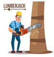 lumberjack classic logger man working with vector image