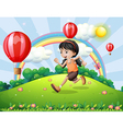 A girl running at the hilltop vector image vector image