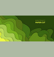background with green color paper cut shapes 3d vector image vector image