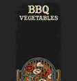 barbecue grill top view with charcoal and beef vector image