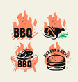 bbq emblem on fire set for menu and cafe vector image vector image