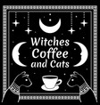 black cats and moon stars coffee cup vector image vector image