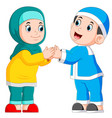 boy and girl are giving greeting vector image vector image