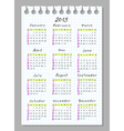 Calendar for 2013 Week begins with Sunday vector image