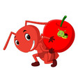 cartoon ants holding apple and caterpillar inside vector image