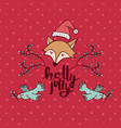 christmas holiday red fox cartoon greeting card vector image vector image