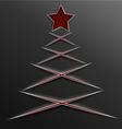 Christmas tree paper cut lines cross vector image