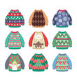 collection of ugly colorful christmas sweaters vector image