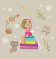 cute girl child cuts a snowflake sitting on a vector image vector image