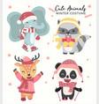 cute happy pastel wild animals in winter costume vector image vector image