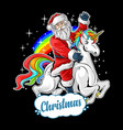 cute santa claus rides cute unicorn vector image vector image