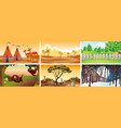 different scenes with animals and nature vector image vector image