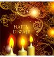 diwali candles on elegant orange background vector image