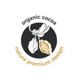 eco logo organic label cocoa tree vector image